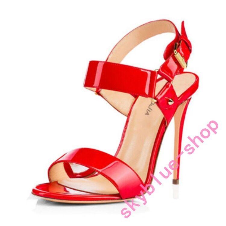 Ladies Roman Peep Toe Ankle Buckle Strap Sandals Slingback High Heel Shoes size