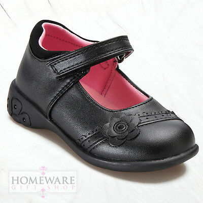 GIRLS BACK TO SCHOOL SHOES TRENDY LEATHER OR MAN-MADE UPPERS UK SIZE 5J-2L BLACK