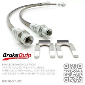 BRAIDED-BRAKE-HOSES-FRONT-HOLDEN-FE-FC-with-HD-HR-HK-HT-HG-DISC-BRAKES-SILVER