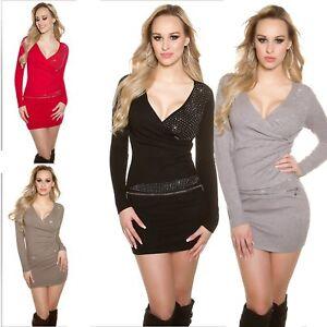 Mini-abito-Maglione-lungo-donna-pullover-incrocio-strass-scollo-V-portafoglio