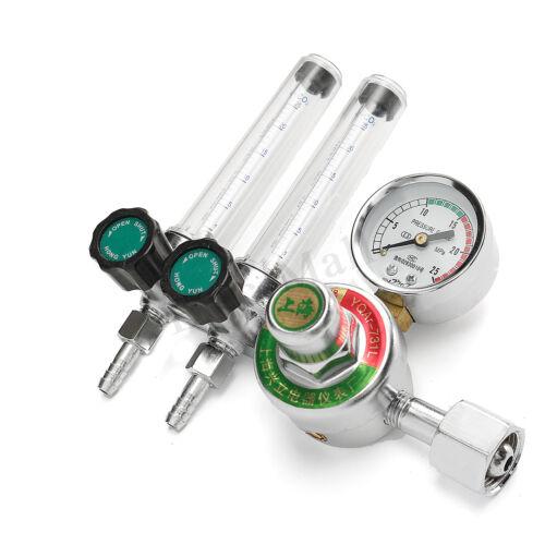 Dual Pipe M14x1.5 2.5 MPA Mig Flow Meter Gas Argon AR//CO2 Regulator Welding Weld