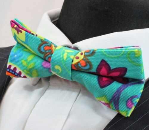 Cotton  Premium Quality BV40 Aqua Green with Bright Floral Pre-Tied Bow Tie