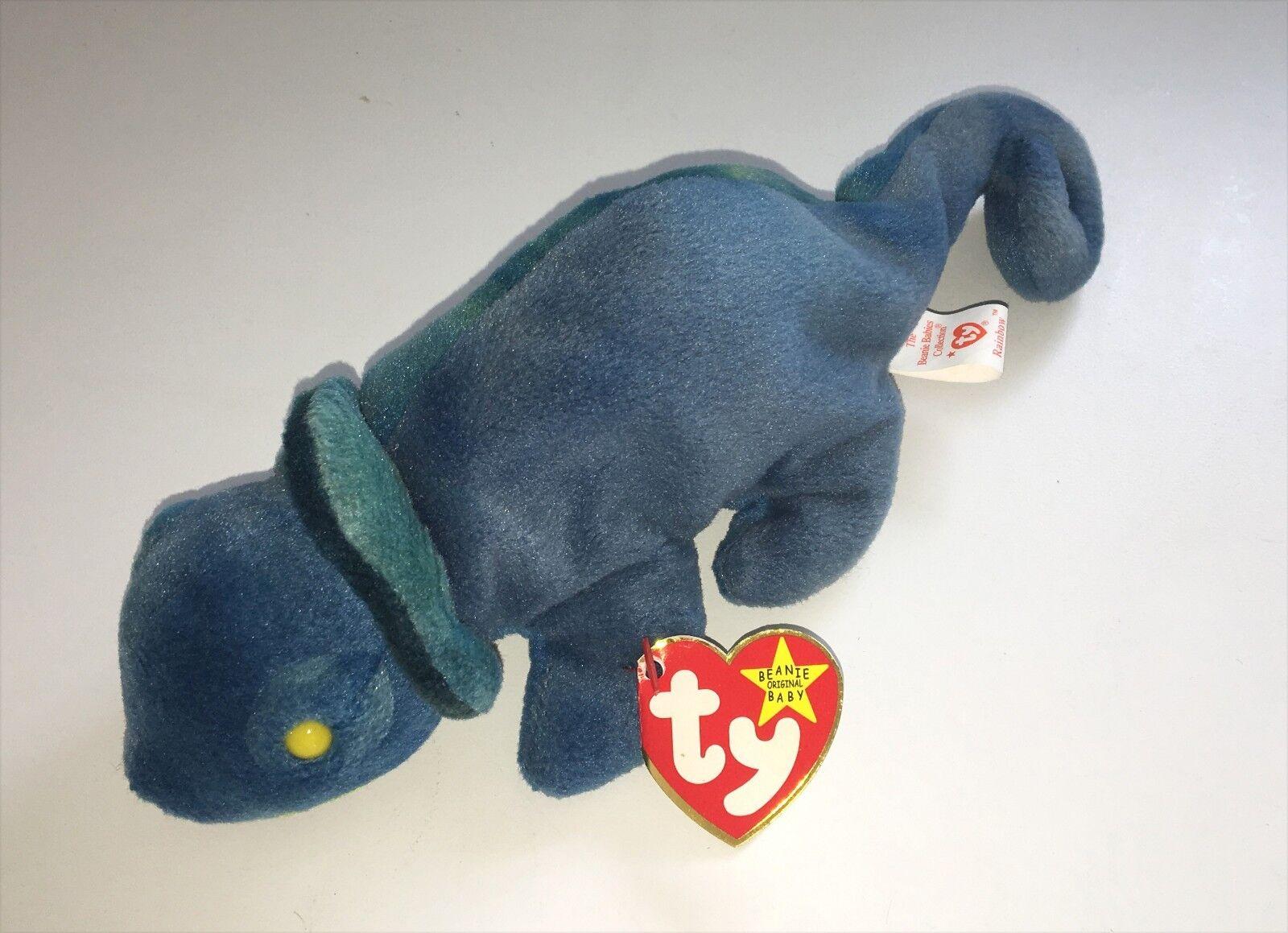 Ty Beanie Baby Error Iggy w Rainbow Tags NEW Plush Stuffed Toy NWT Rare ERRORS