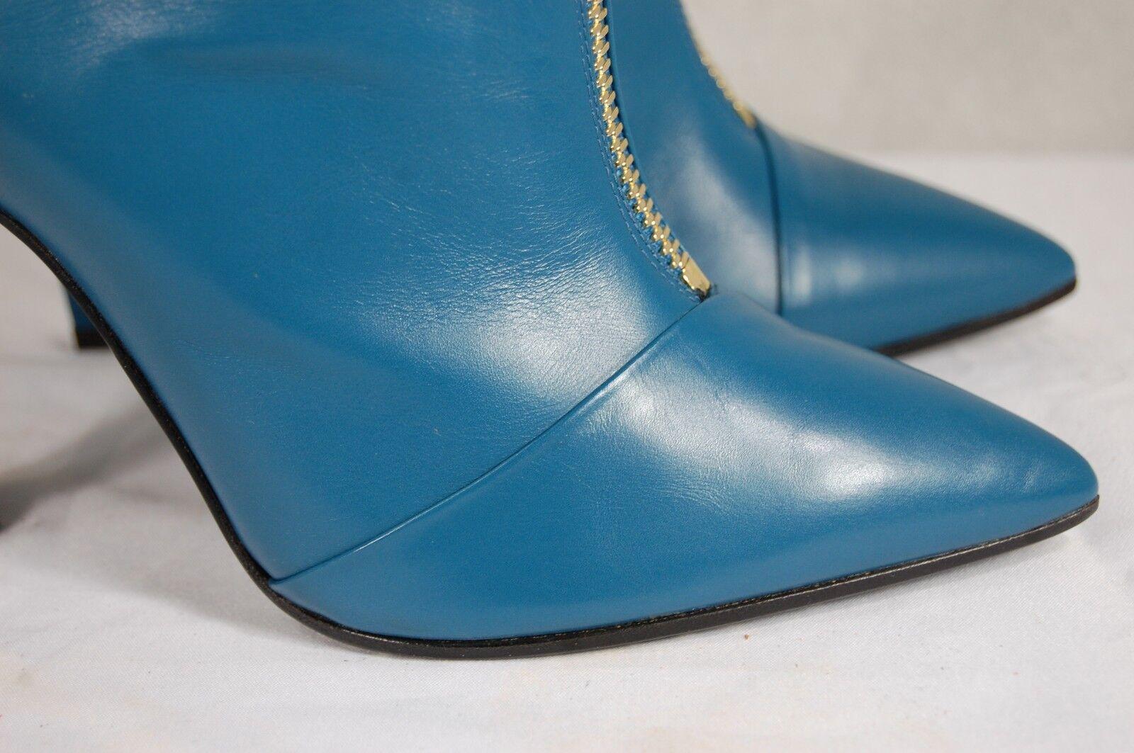Emanuel Ungaro Hecho en Italia Mujer Tacón Tacón Tacón Alto botas De Cuero Azul EU 39 nos 8.5 baa995