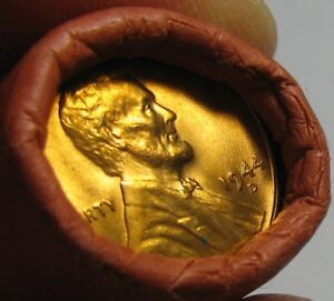 1944-D-OBW-ORIGINAL-BANK-WRAPPED-ROLL-BU-UNCIRCULATED-LINCOLN-WHEAT-CENT-PENNIES