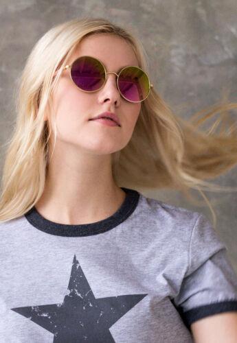Sunglasses Round Frames Mirror Flash Lens Retro Vintage Boho Lennon 70s 90s Mens