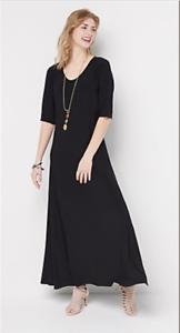Attitudes-by-Renee-Regular-Solid-Maxi-Dress-Black-Large