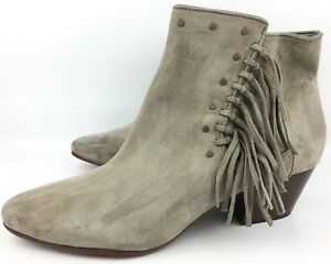 ef744f2e6 Sam Edelman Rudie Putty Gray Suede Studded Fringe Heeled Booties sz ...