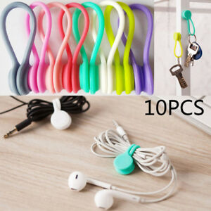 10pcs Handy Silicone Headphone Earphone Cable Tie Cord Organizer Winder Wrap A+