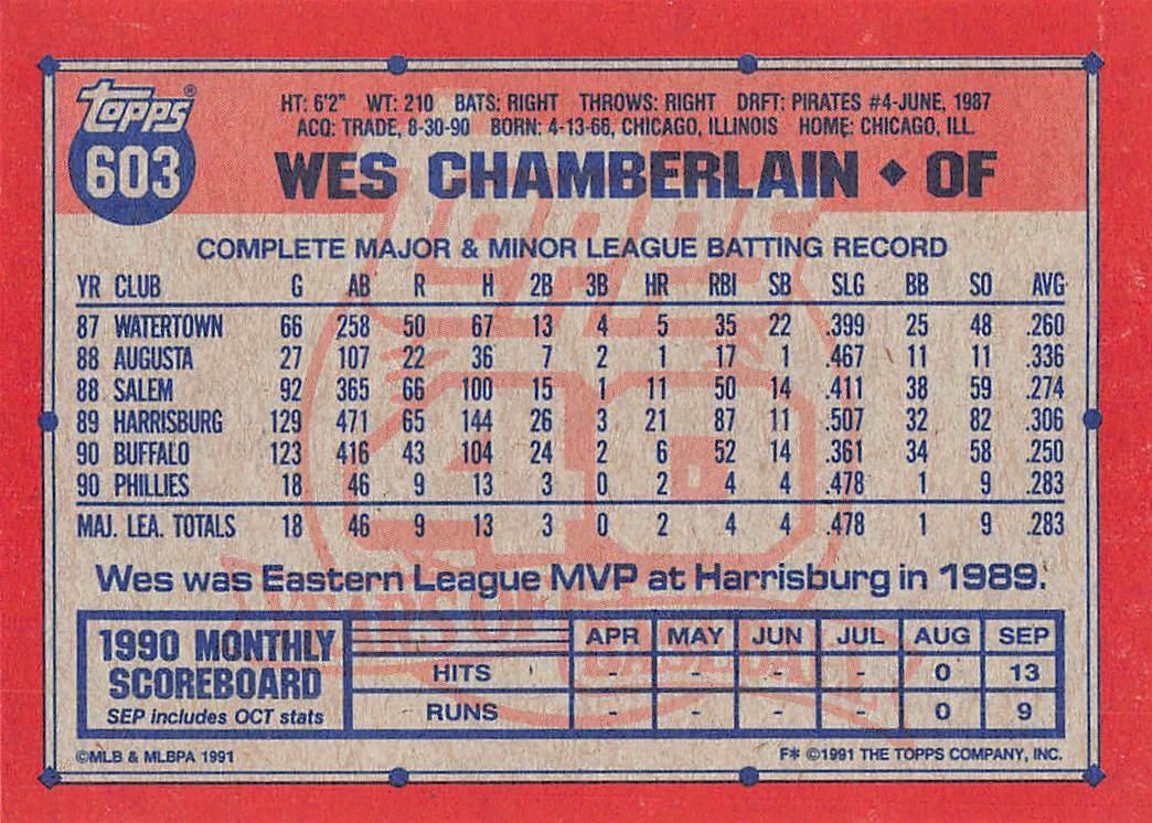 - Philadelphia Phillies Baseball Cards 603A RC - Rookie Card // Photo actuall Louie Meadows 1991 Topps #603 Wes Chamberlain ERR RC