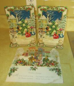 3-Vintage-3D-Embossed-Pop-Up-Hallmark-amp-American-Greeting-Christmas-Cards