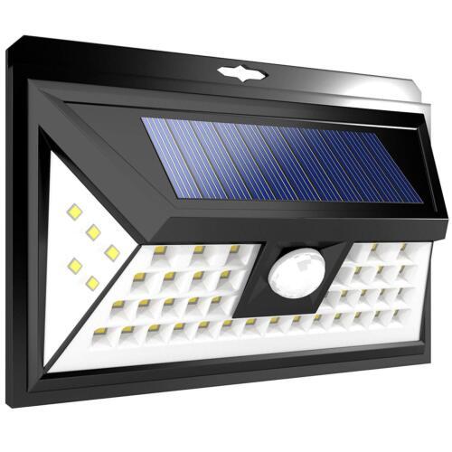 2X LED RV Motion Sensor Solar Exterior Porch Utility Light Fixture 46 LED Black
