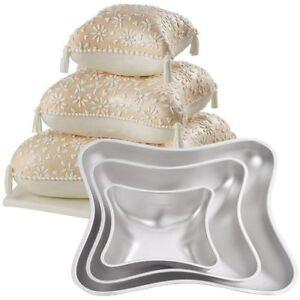 PILLOW SHAPED 3 SET Wedding Cake Tin Baking Pan Insert Instructions