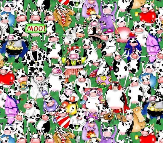 On A Lark Cows 100% Cotton Fabric by Elizabeth Studios FQ