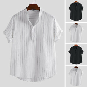 Men-039-s-Linen-Striped-Shirts-Short-Sleeve-Casual-Tee-Holiday-Beach-Tops-Blouse