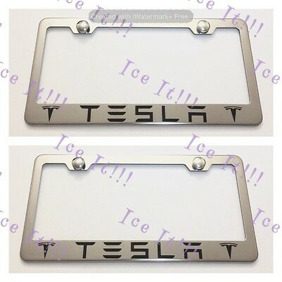 HIGHLANDER Stainless Steel Black License Plate Frame Rust Free Caps