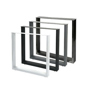 2er Set Steelboxx Design Tischkufen Tischgestell Tischbeine Stahl Tisch Kufen (90 x 72 x 8cm (BxHxT), Transparent Rohstahl Optik)