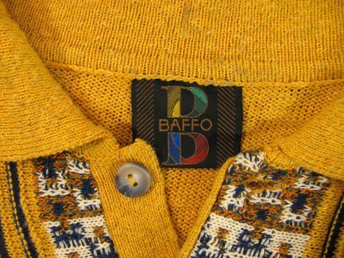 Jersey Vtg de Amarillo larga Sweater Talla Negro Baffo Italia Azul 52 Jersey manga Rr0RU1