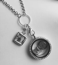 Personalized Clip On Dangle Photo charm for living locket floating glass pendant