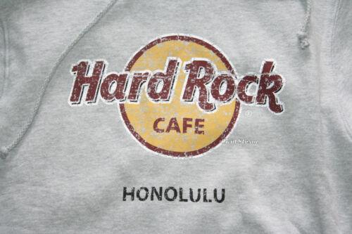 Hard Rock Cafe Honolulu Hawaii Grey Logo Pullover Hoodie Hoody Sweatshirt Mens