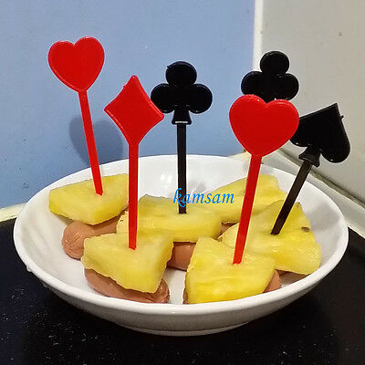 20x playing card food cupcake picks fruit cocktail sticks party wedding fest