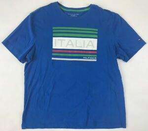 cheaper dd010 0a752 Details about Unique Tommy Hilfiger Italia T-Shirt XL Extra Large Italy  Blue White Red Flag TH