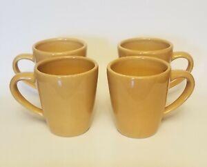 Pottery-Barn-Sausalito-Set-of-4-Deep-Large-Coffee-Tea-Mugs-Amber-Gold-Yellow-4-034