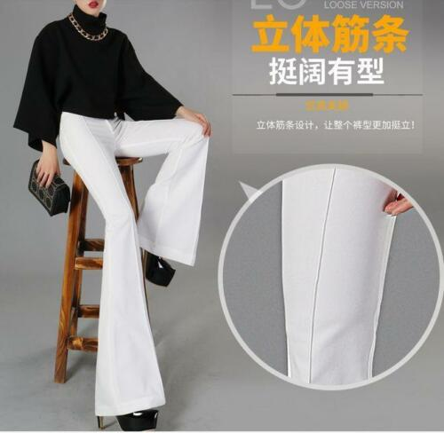 Womens Trousers  High-waisted Casual bell-bottom Pants Stretch Super Long US-XL#