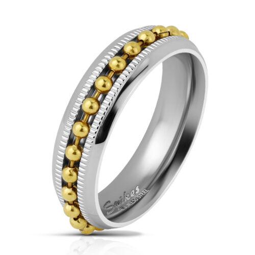 Coolbodyart señores anillo Anillo de cinta en plata con sisas bala-cadena en oro u