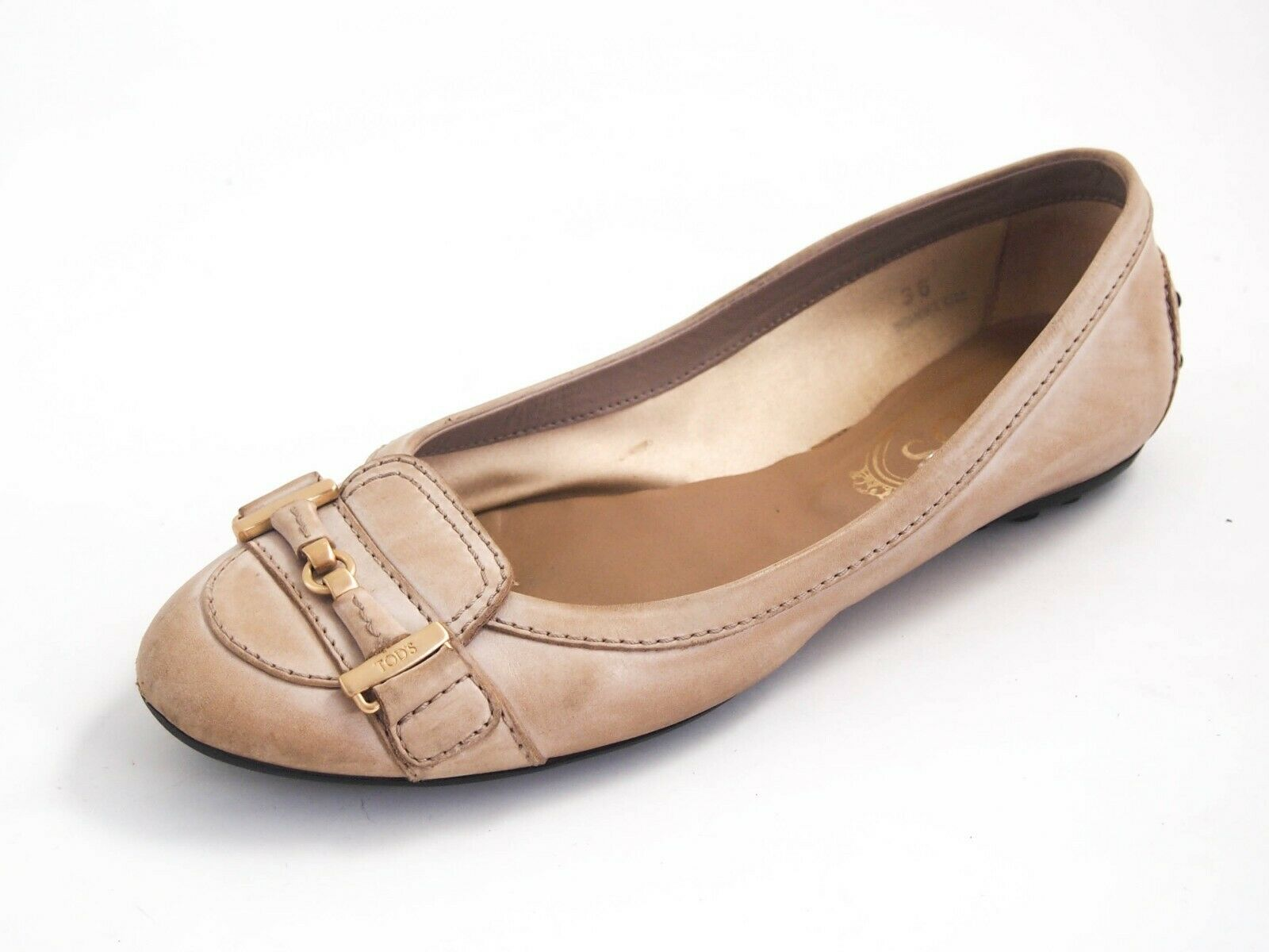 Tod's Ballet Flats Beige Leather mujer zapatos Talla EU 36 US 6  420