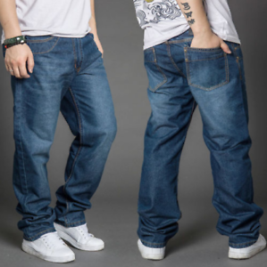 HOT Mens Loose fit Denim Casual Baggy Jeans Long Trousers Cotton Pants New Sytle