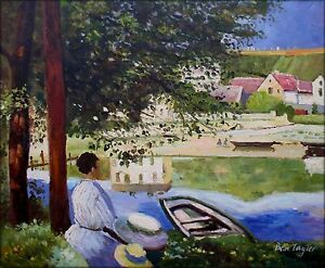 Hand-Painted-Oil-Painting-Repro-Claude-Monet-The-River-Bennecourt-20x24in
