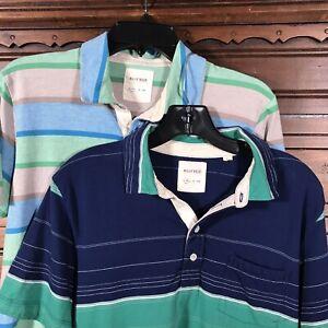 Billy-Reid-Short-Sleeve-Polo-Shirt-Lot-of-2-Striped-100-Cotton-Men-039-s-Size-M