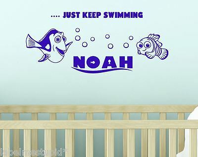 Large NEMO /& DORY Wall Sticker With Any Name Kids Custom design Fish