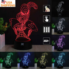 Super hero Spider man 3D Acrylic LED Night Light 7 Color Table Desk Lamp Gift