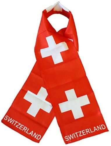 """Switzerland Country Lightweight Flag Printed Knitted Style Scarf 8/""""x60/"""""""