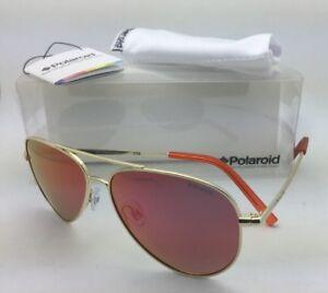 432d0efd7ba Kids POLAROID Sunglasses PLD 8015 A J5G OZ 52-12 Gold Aviator Frame ...
