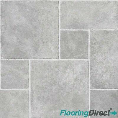 Non Slip 4mm Thick Vinyl Flooring Lino Grey Random Tile
