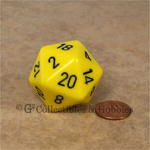 Jumbo D 34mm Large Sided Yellow 20 D20 Dice Rpg Game New Die amp;d uT5Fc3lK1J