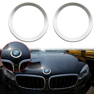 Xotic Tech 2pcs for BMW 5 Series F10 F11 Car Front Hood Rear Trunk Logo Decoration Ring Red