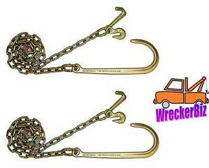 1 Pair, 10' G70 J HOOK, MINI J COMBO WRECKER TOW CHAIN for Wrecker Tow Truck