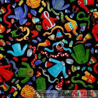 Boneful Fabric Fq Cotton Quilt Black Red Green Xmas Knit Hat Glove Scarf Coat Sm