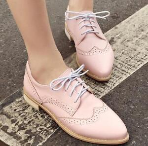 212e05143 Image is loading 2018-Women-Oxford-Brogue-Fashion-Shoes-Pumps-Pointed-