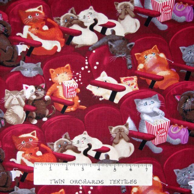"Animal Fabric - Scaredy Cats Movie & Popcorn Stripe - Timeless Treasures 24"""