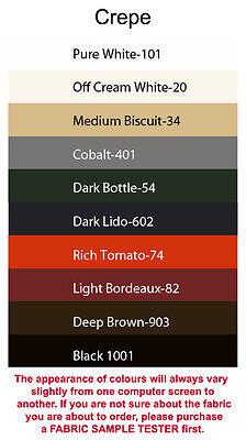 Crepe fabric (4x5cm sample colour testers & per metre purchasing)
