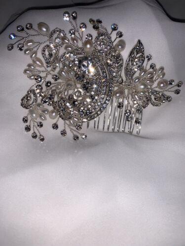 Belle Lily Bella Strass Perles Perle peigne pour robe de mariage 11 cm x 8 cm