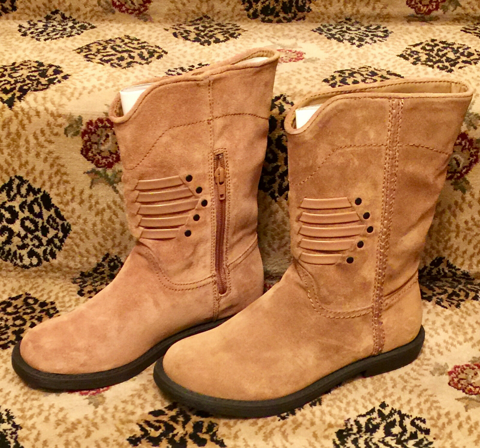 NEW 6 M CALVIN KLEIN KOURTNEY MOTORCYCLE SUEDE LEATHER MOTO RIDING BOOTS BOOTIE