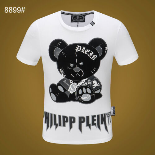 Philipp Plein Noir//ours blanc perles hommes Casual T-shirt P8899# taille M-3XL
