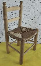 Ancienne Chaise Paille Bois Blanc Enfant Vintage  Artisanal Rancy France