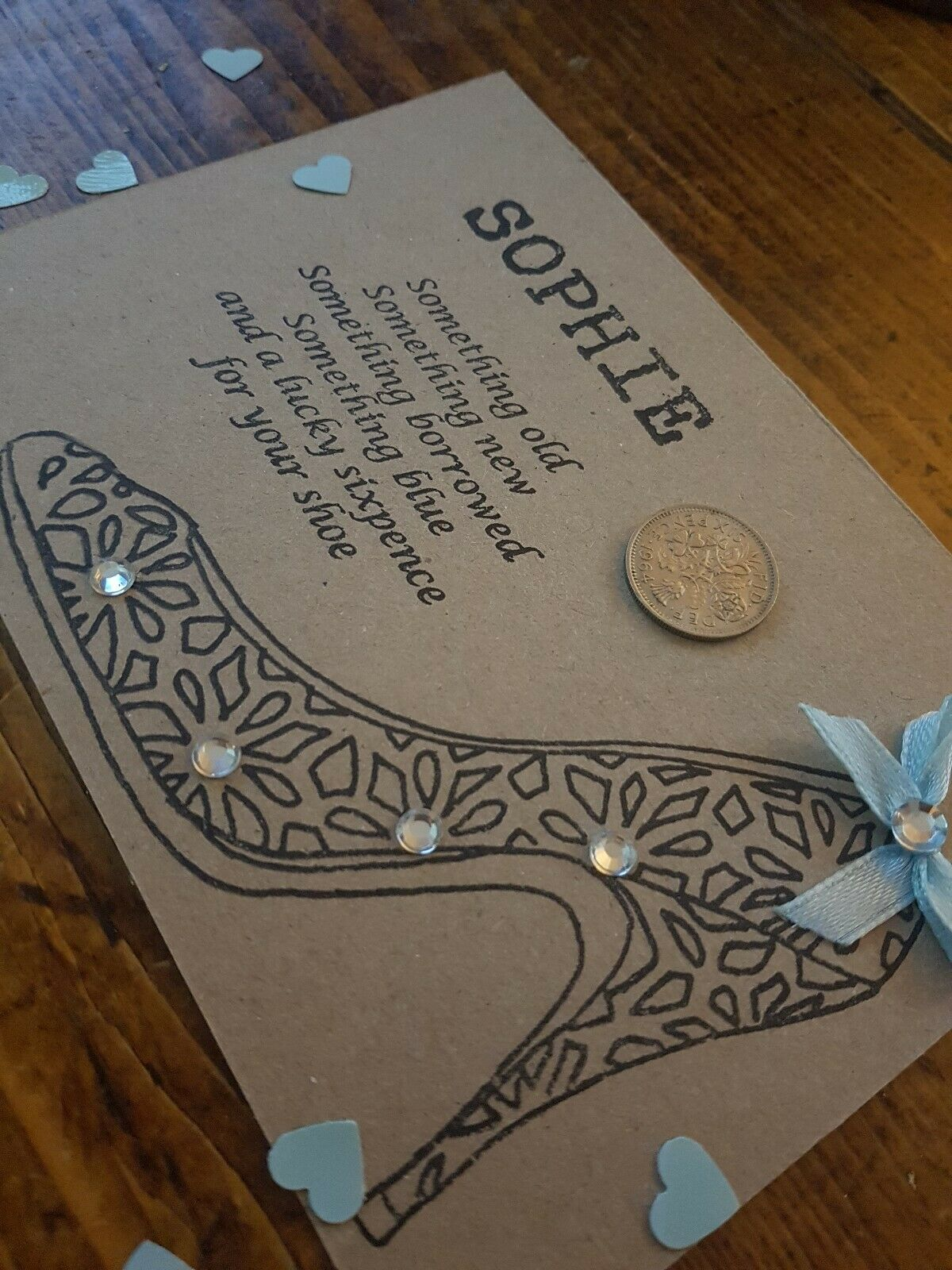 Something old blue Personalised Rustic Wedding Lucky Sixpence Gift Card Bride